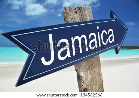 Jamaica sign on the tropical beach