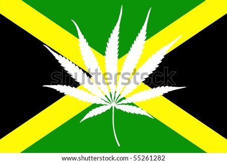 jamaican flag with marijuana leaf
