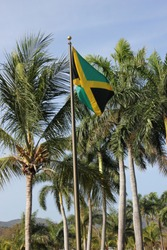 Jamaican flag with palm trees