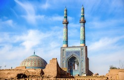 Jame Mosque of Yazd in Iran. The mosque is crowned by a pair of minarets, the highest in Iran.