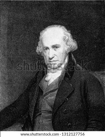 James Watt, inventor of the steam engine, vintage engraved illustration. From the Universe and Humanity, 1910. Foto stock ©
