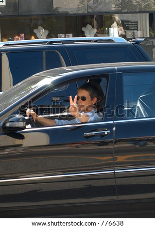 Jami Lee Curtis cruzing bye on a Saturday afternoon in. Beverly hills, Ca, 05/08/04