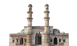 Jami Masjid Mosque (also known as Jama Masjid) isolated on white background. It is part of the Champaner-Pavagadh Archaeological Park (India), a UNESCO World Heritage Site