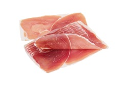 Jamon, Prosciutto, Speck, Dry Cured Meat or Ham slices isolated on white with clipping path