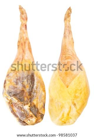 Jamon serrano, whole leg two sides, A Spanish ham isolated over white
