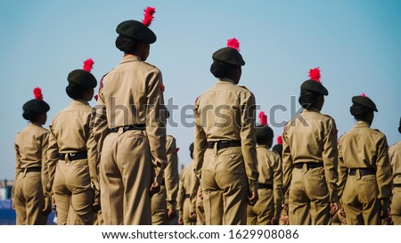 Jamshedpur,Jharkhand/India-January 26 2020: Womens police officers doing parade on the occasion of Republic day