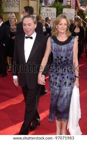Jan 16, 2005; Beverly Hills, CA: ANDREW LLOYD-WEBBER & wife at the 62nd Annual Golden Globe Awards at the Beverly Hilton Hotel.