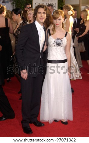 Jan 16, 2005; Beverly Hills, CA: Singer JOSH GROBAN & girlfriend actress JANUARY JONES at the 62nd Annual Golden Globe Awards at the Beverly Hilton Hotel.