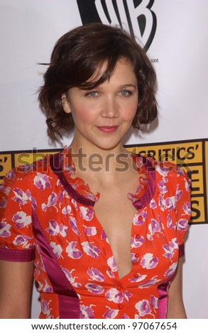 Jan 10, 2005; Los Angeles, CA:  Actress MAGGIE GYLLENHAAL at the 10th Annual Critcs' Choice Awards at the Wiltern Theatre, Los Angeles.