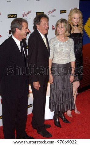 Jan 15, 2005; Los Angeles, CA:  MEL GIBSON, GEOFFREY RUSH, OLIVIA NEWTON JOHN & NICOLE KIDMAN at the G'Day LA Penfolds Gala honoring Australian talent.