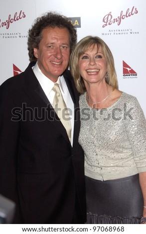 Jan 15, 2005; Los Angeles, CA:  OLIVIA NEWTON JOHN & GEOFFREY RUSH at the G'Day LA Penfolds Gala honoring Australian talent. - stock photo