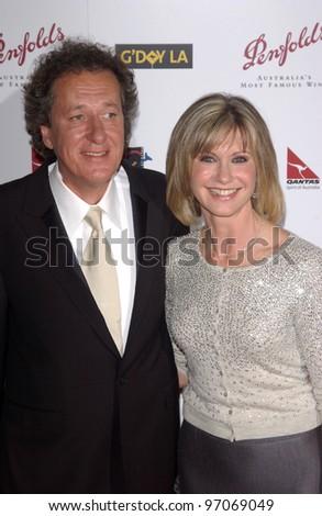 Jan 15, 2005; Los Angeles, CA:  OLIVIA NEWTON JOHN & GEOFFREY RUSH at the G'Day LA Penfolds Gala honoring Australian talent.