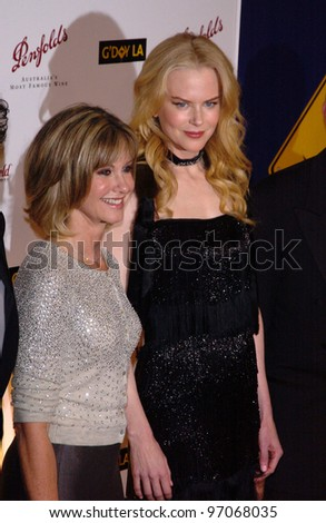 Jan 15, 2005; Los Angeles, CA:  OLIVIA NEWTON JOHN & NICOLE KIDMAN at the G'Day LA Penfolds Gala honoring Australian talent.