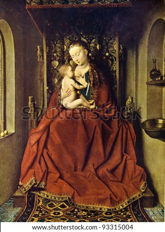 Jan van Eyck (1390 - 1441) The Lucca Madonna. Reproduction from illustrated Encyclopedia «Art galleries of Europe», Partnership «M. O. Wolf», St. Petersburg - Moscow, Russia , 1901