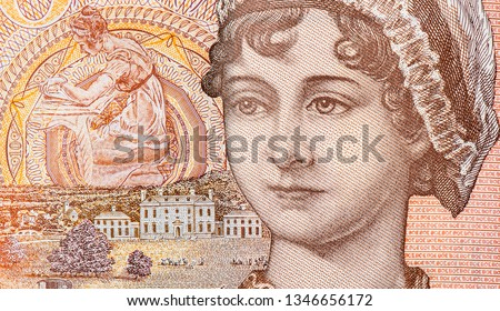 """Photo of  Jane Austen, Elizabeth Bennet (protagonist of the novel """"Pride and Prejudice"""" by Jane Austen), Portrait from Great Britain 10 Pounds 2016 Banknotes. An Old paper banknote, Famous ancient Banknotes."""