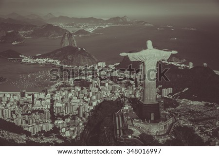 Janeiro, Brazil : Aerial view of Christ and Botafogo Bay from high angle. Vintage brown colors