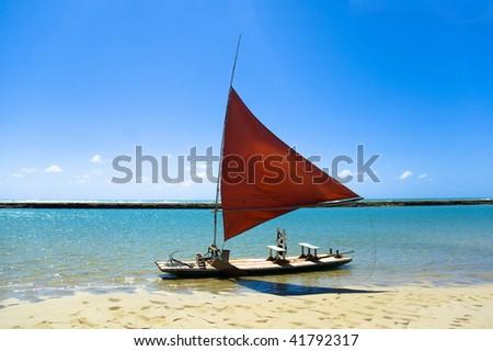 Jangada - fishing boat in Porto de Galinhas, Pernambuco - Brazil