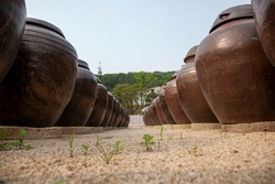 Jangdokdae is a collection of earthenware pots made of soy sauce, soybean paste, and red pepper paste.