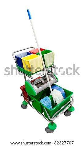Janitor's cart isolated over white. Clipping path included.