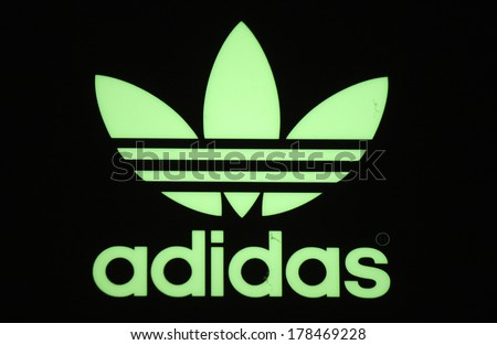 JANUARY 2014 BERLIN the logo of the brand Adidas Berlin