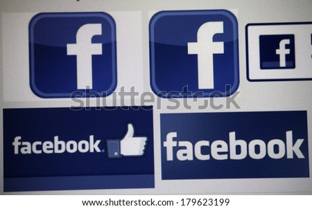 JANUARY 27 2014 BERLIN the logo of the brand Facebook&quot