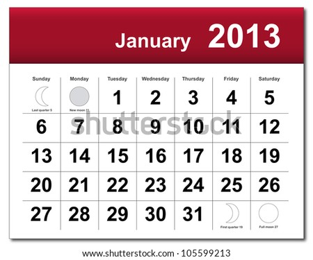 January 2013 calendar. - stock photo
