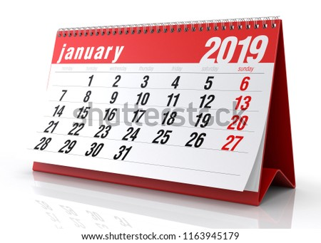 January 2019 Calendar. Isolated on White Background. 3D Illustration