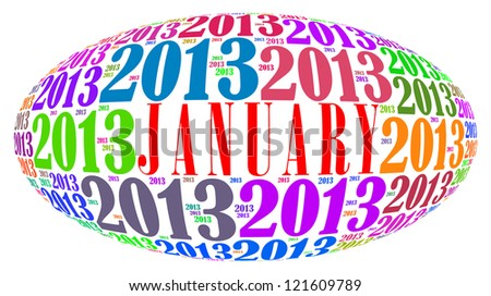 January 2013 info-text graphics arrangement on white background