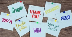 January 11 - International Thank You day. Card  with words