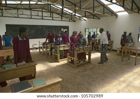 JANUARY 2007 - Karimba School with school children in new classroom in North Kenya, Africa
