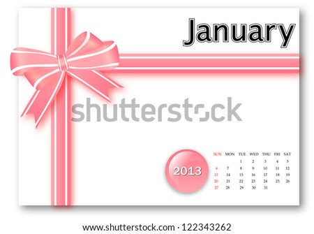 January of 2013 calendar for gift pack design