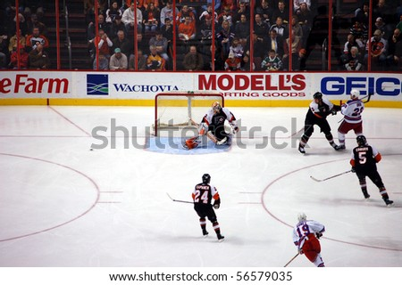 JANUARY 31 - PHILADELPHIA: Flyers goalie Martin Biron makes a save on a Rangers shot in a game at the Wachovia Center January 31, 2008 in Philadelphia, PA.