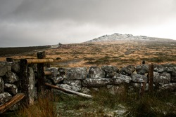 January 2021- Snow has settled on top of Rippon Tor in Dartmoor National Park, Devon, UK