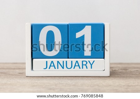 January 1st. Day 1 of january month, calendar on light background. Happy New year, Winter time #769085848