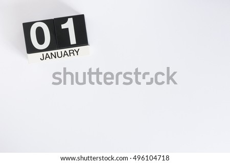 January 1st. Day 1 of month, calendar on white background. Winter time, New year concept. Empty space for text #496104718