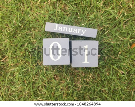 January 1st. January 1 retro wooden calendar on green grass natural background.Concept for new year and copy space your text design. #1048264894