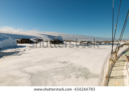 January 15th 2014: Sailing boat stuck in ice sheet in Antarctica #656266783