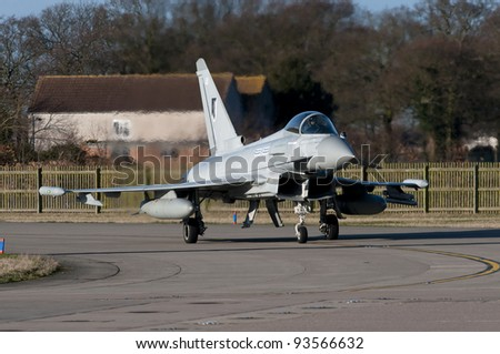 January 2012. Third production single seat Eurofighter Typhoon fighter for Royal Air Force seen at RAF Coningsby, Lincolnshire, UK . Upgraded to R2 standard becoming a Typhoon FGR.4 designation.