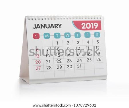January White Office Calendar 2019 Isolated on White #1078929602
