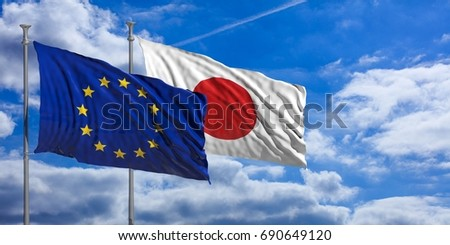 Japan and EU. Japan and European Union waving flags on blue sky background, copy space. 3d illustration