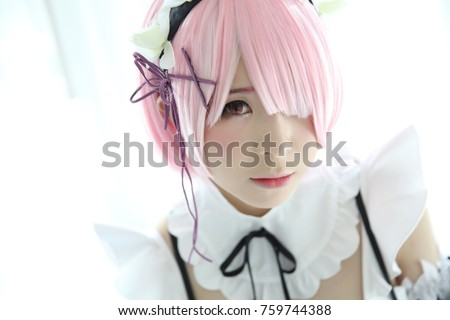Stock Photo Japan anime cosplay girl portrait in white tone