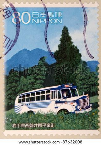 JAPAN - CIRCA 2000: A stamp printed in japan shows Car, circa 2000