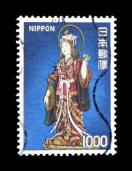 Japan, circa 1980 : Postage stamp printed by Japan, that shows Japanese woman, circa 1980.