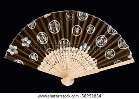 japan fan old style in black isolation