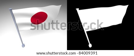 Japan flag on a pole with alpha channel