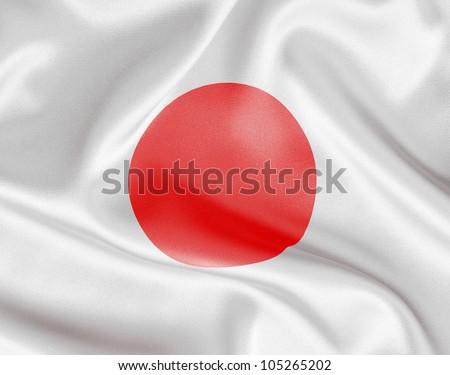 Japan flag on white satin or silk