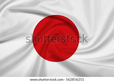 Japan flag with fabric texture. 3D illustration.