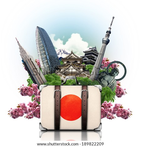 Japan japan landmarks travel and retro suitcase