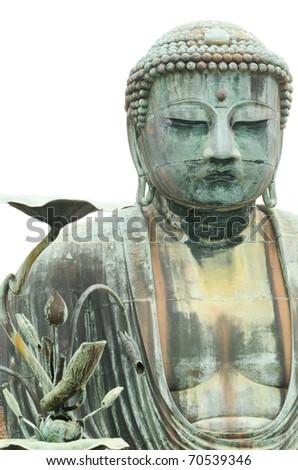 Japan, Kamakura, Great Buddha statue; three quarters view of head and torso; isolated on white