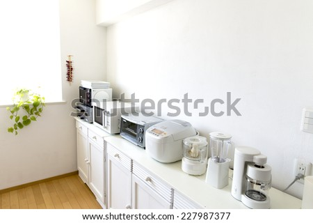 Japan kitchen with small cooking appliances are lined up